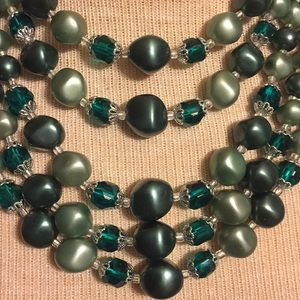 Vintage green bead and crystal necklace with ring
